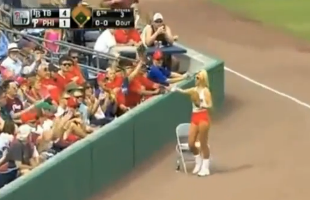 Hooter's Girl + Baseball = FAIL